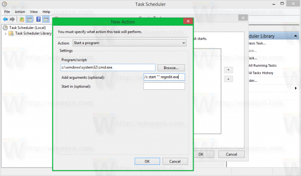 Windows 8 task scheduler create task - new action cmd
