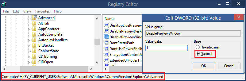 DisablePreviewWindow