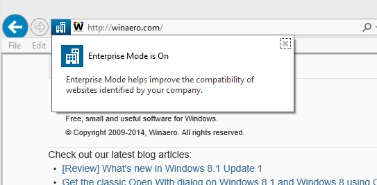 Enterprise Mode IE11