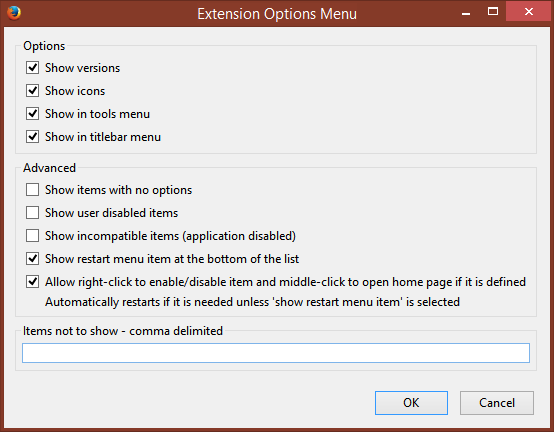 Access Firefox extension/addon options from a menu