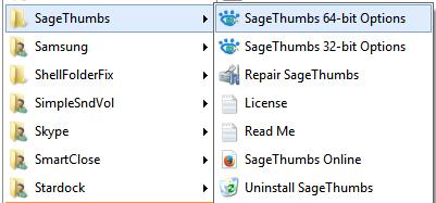 SageThumbs shortcuts