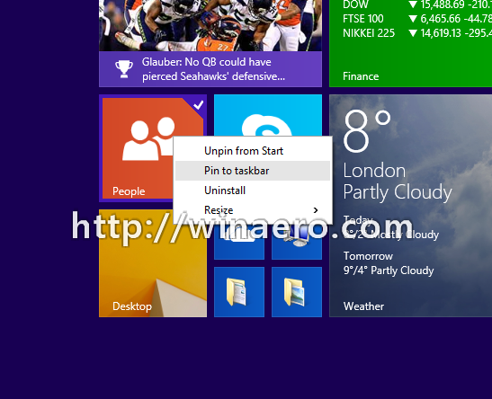 Start Screen Pin to taskbar