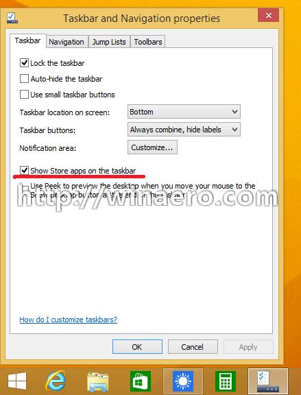 Taskbar for Modern Apps