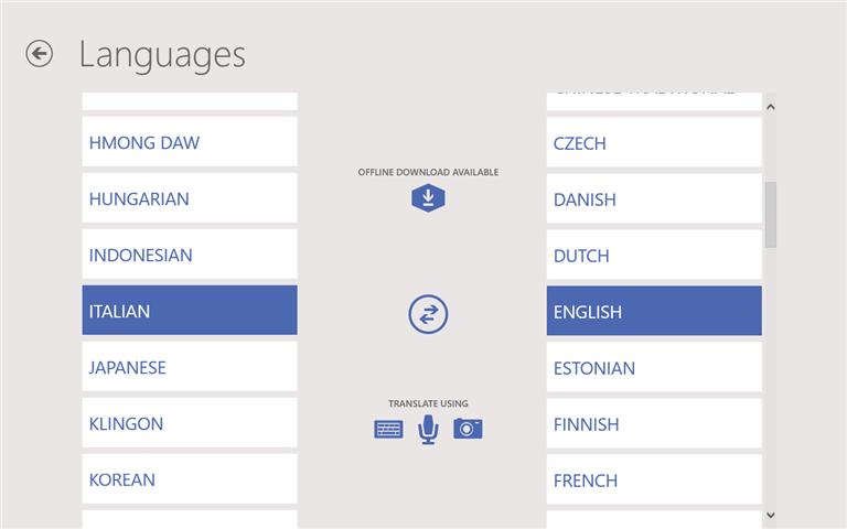 Translate text to and from other languages offline using Bing Translator app for Windows
