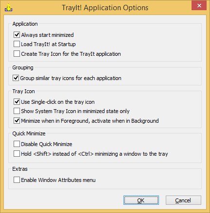 TrayIt! Application Options