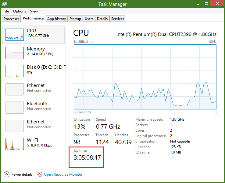 How to see your PC system uptime live on Windows 8 1