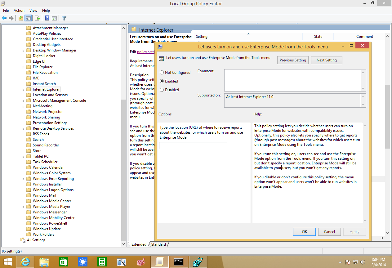How to enable Enterprise Mode in Internet Explorer 11