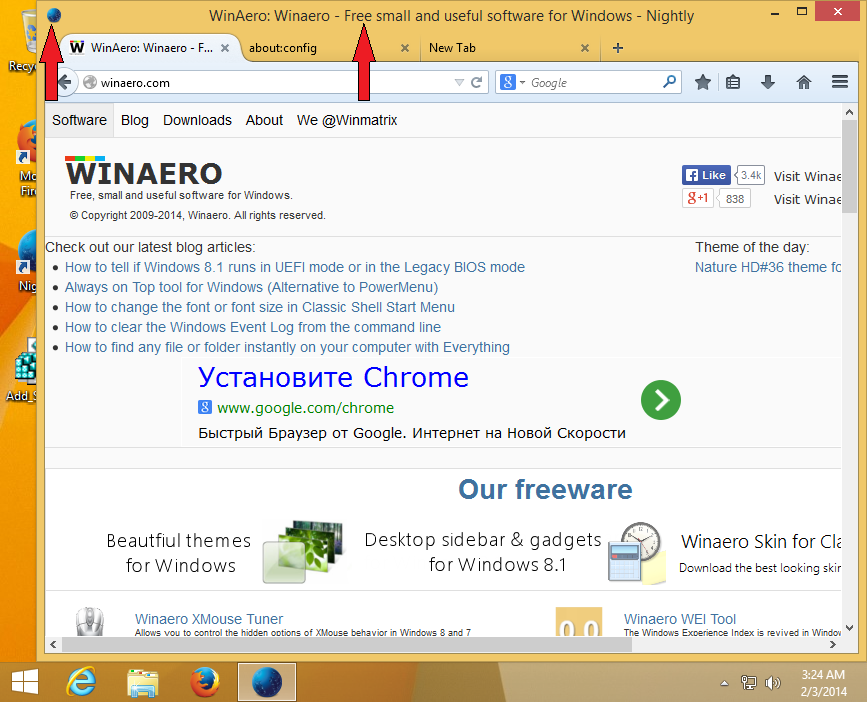 How to enable titlebar in Firefox 28 or above with ...