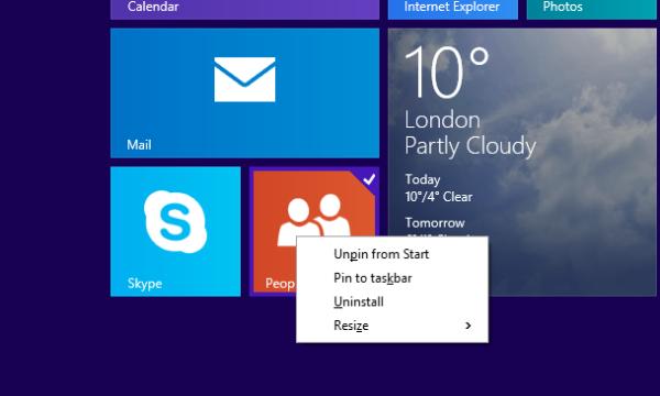 pin to taskbar from the Start screen