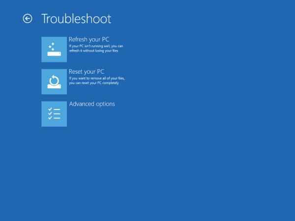 Advanced options of Troubleshoot