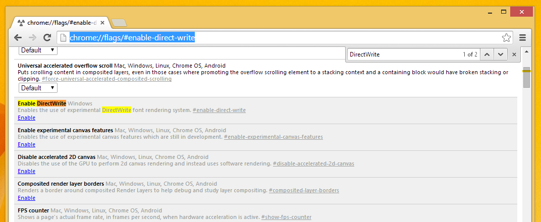 How to enable DirectWrite font rendering in Google Chrome
