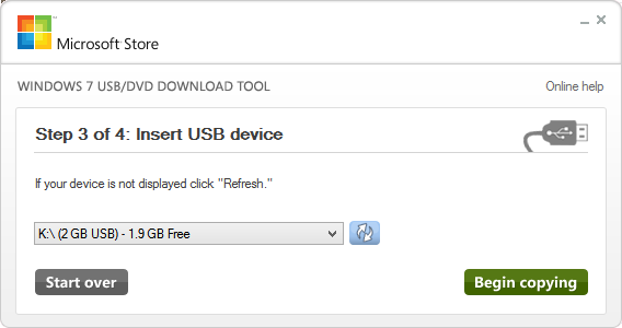 Windows 7 USB DVD Download Tool 3