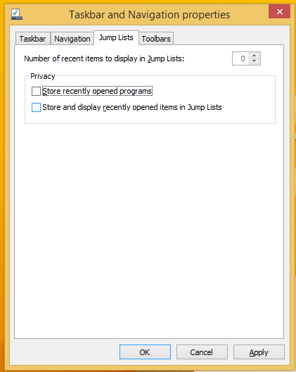 disable jump lists in Windows 8