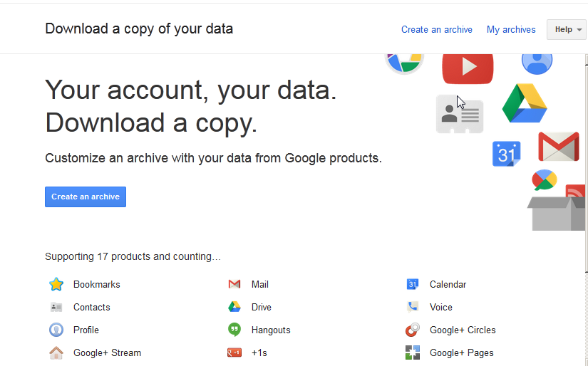 How to download all the data associated with your Google account