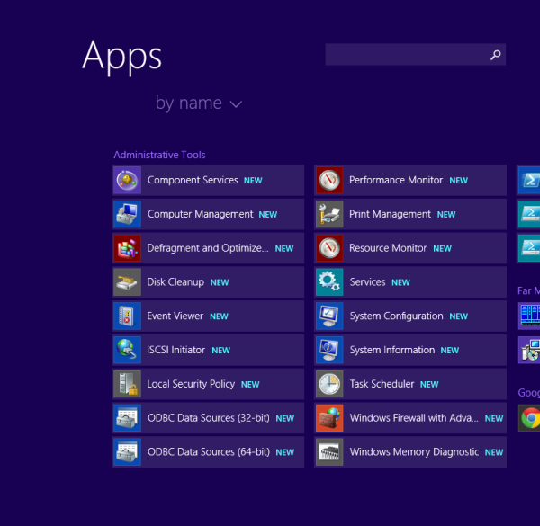 administrative tools in apps view