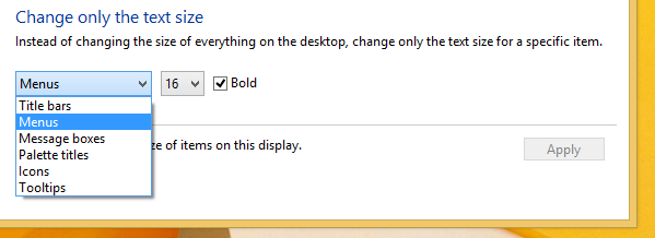 change only text size