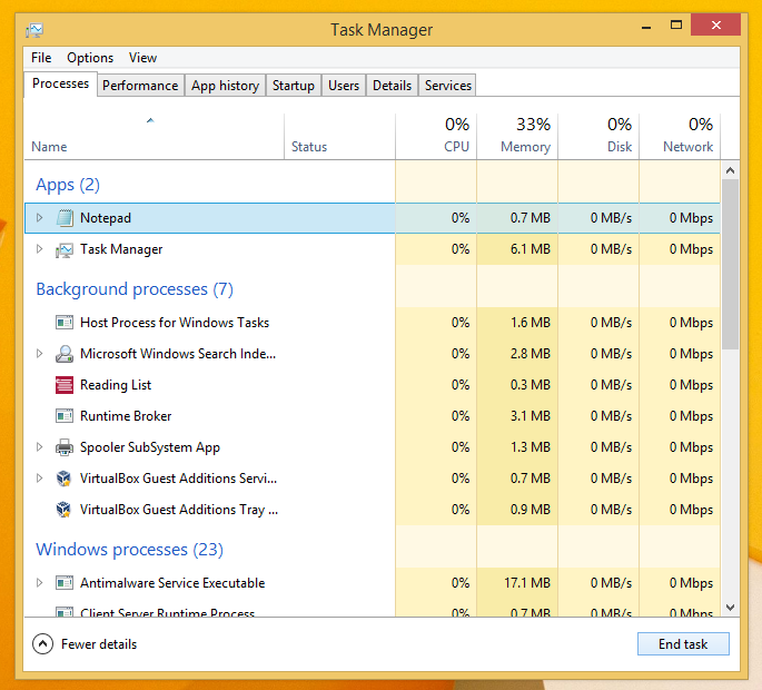 How to end a process quickly with Task Manager in Windows 8