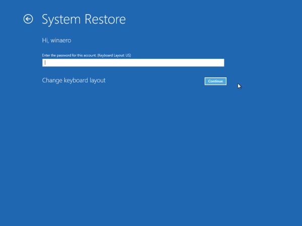 System Restore account password