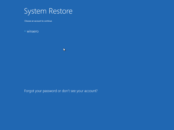 System Restore pic an account