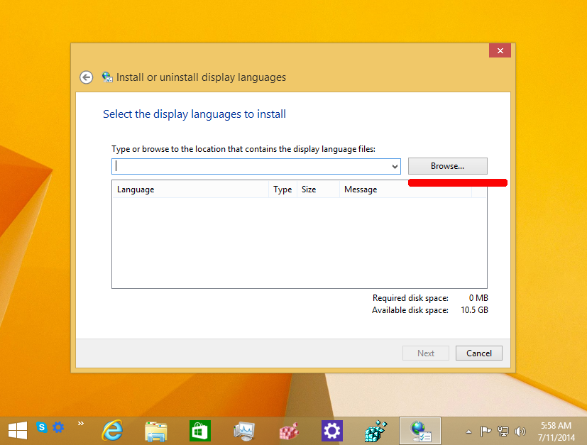 How to install an MUI language CAB file in Windows 8 1