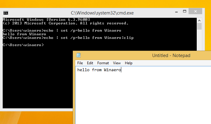 How to make the echo command without new line in Windows