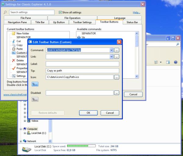toolbar button editor