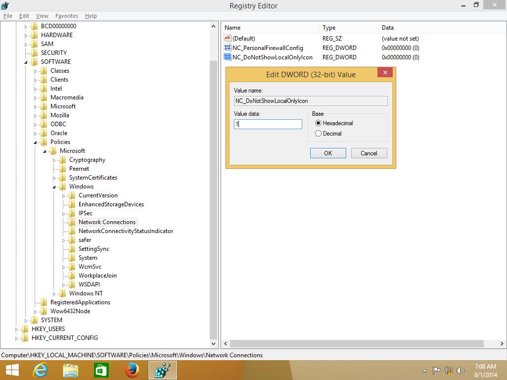 Disable yellow warning sign on network icon of Windows taskbar