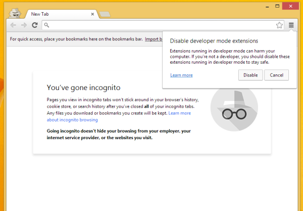 chrome incognito window