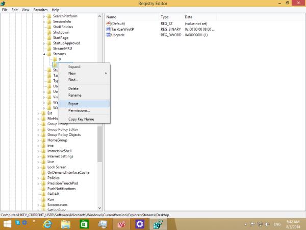export taskbar toolbars to a file