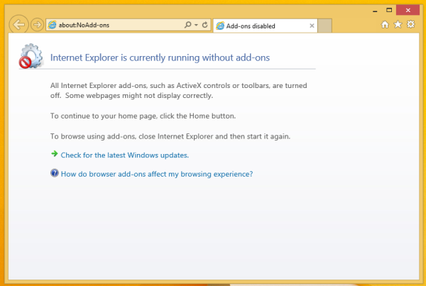 ie addons disabled