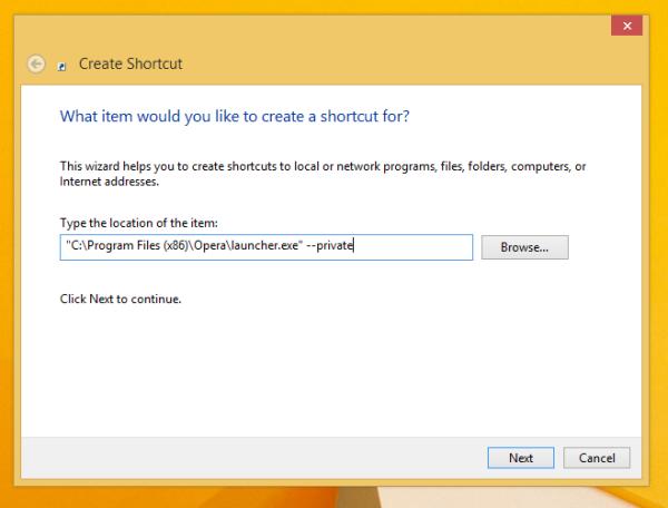 opera private mode shortcut
