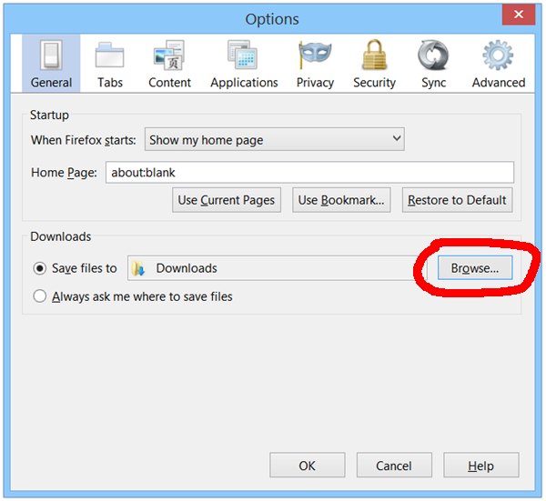 how to setup download location in firefox