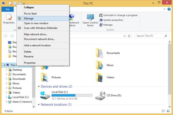 computer manage context menu