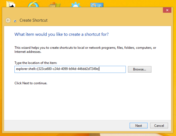 create favorites shortcut