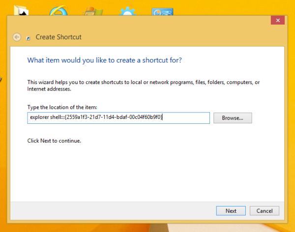 create the Run command shortcut in Windows 8