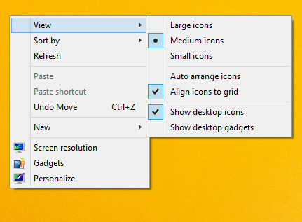 view desktop context menu