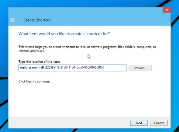 Run shell location in Windows 10
