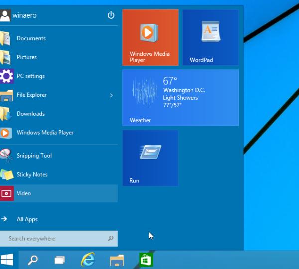 Start menu with run in Windows 10