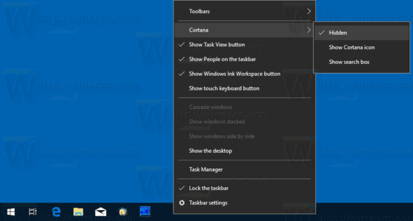 Windows 10 Hide Search Box From Taskbar