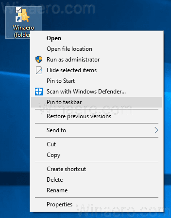 Windows 10 Pin Folder To Taskbar