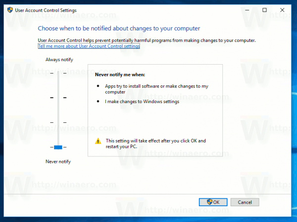 Windows 10 Disable Uac Classic Control Panel
