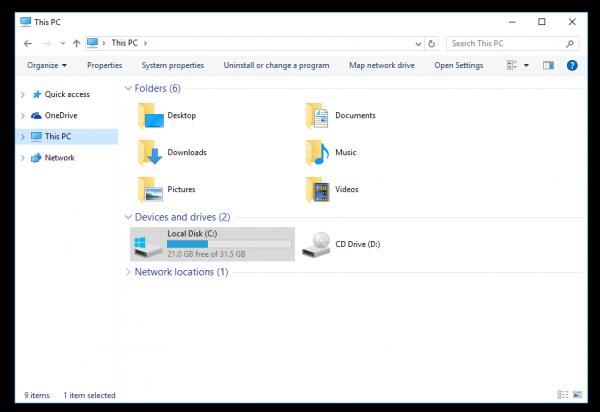 Windows 10 explorer without ribbon