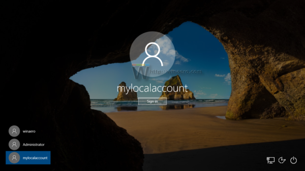 Windows 10 sign in with new local account
