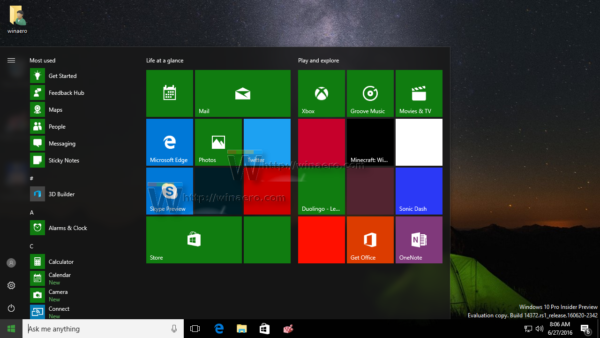 Windows 10 start menu layout reset