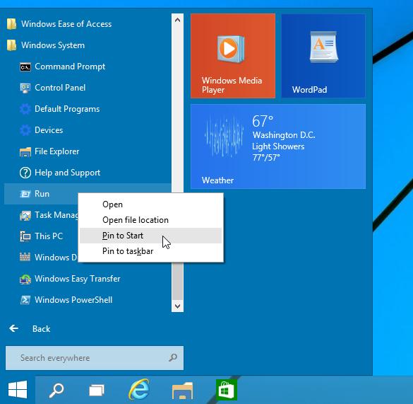 add run to Start menu in Windows 10