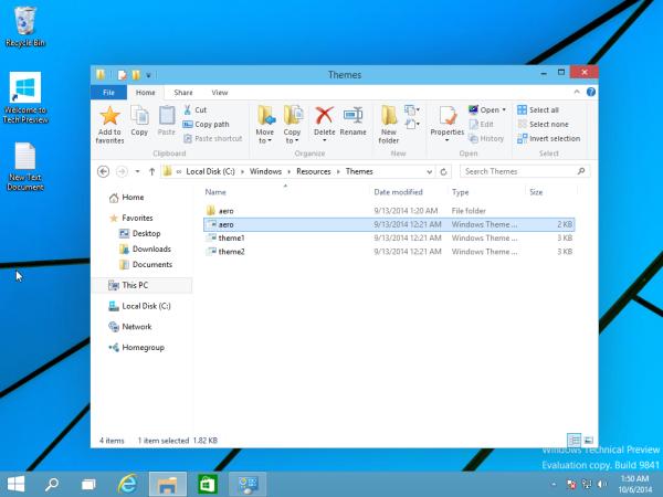aero theme of Windows 10