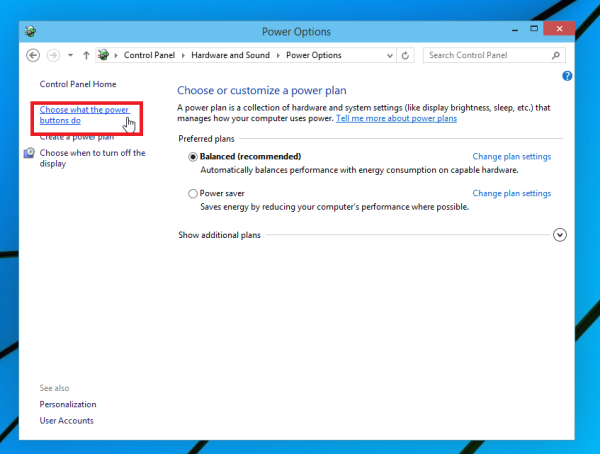 change what the power options do Windows 10