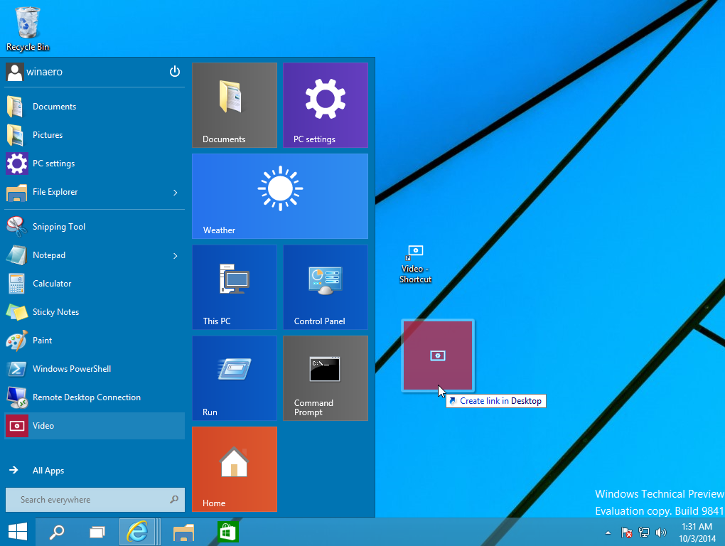 Create Desktop shortcuts for Modern apps in Windows 10 with drag and