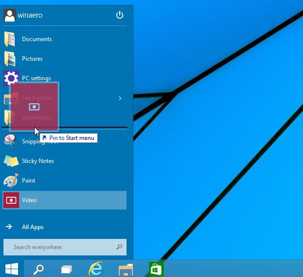 how to drag window 10 start menu