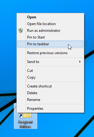frequent folders pin to taskbar